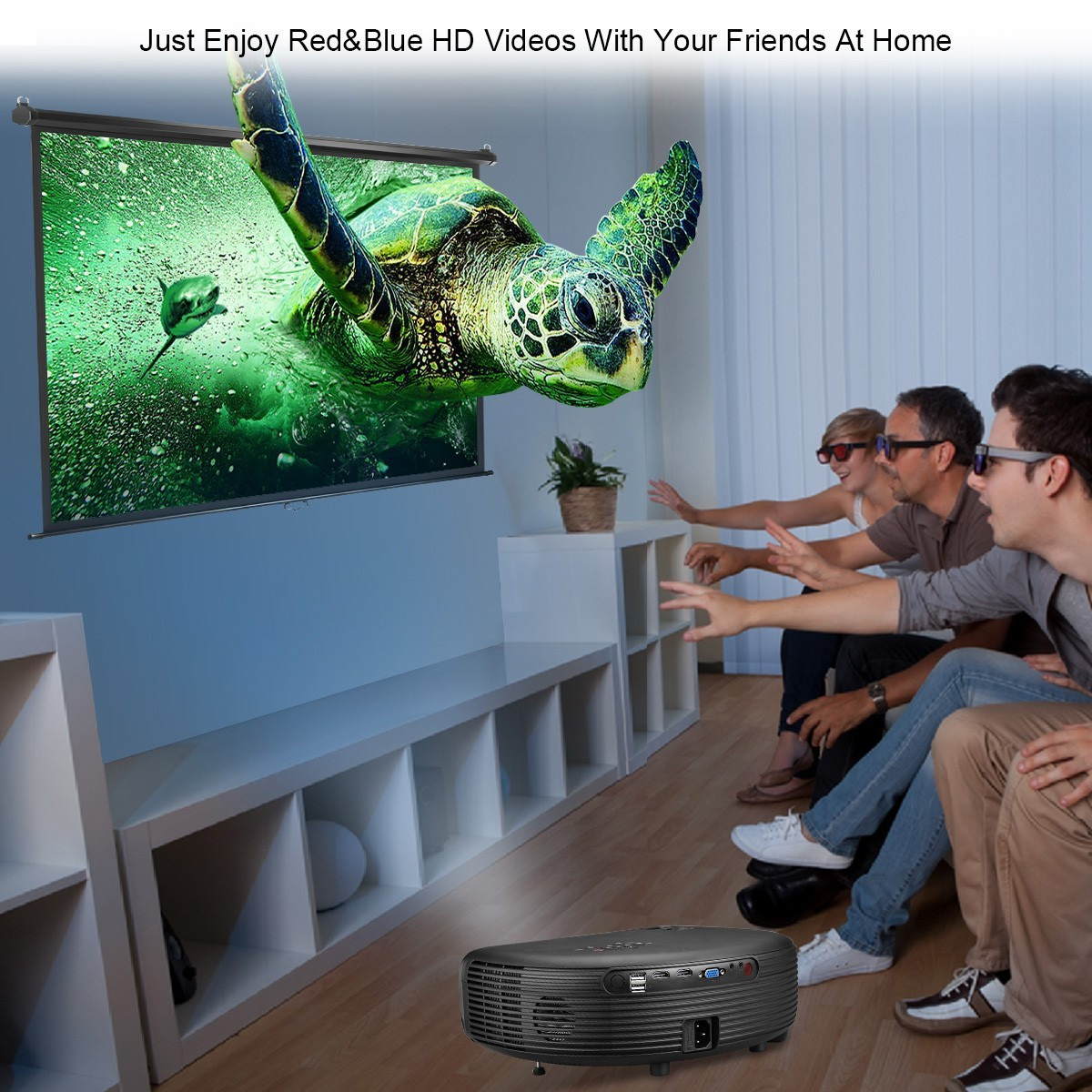 Excelvan CL760 Newly Semicircle Design CL760 3200 Lumens LED Video Projector With 1280x800 Native Resolution Support 1080P HD Movie for Laptop Xbox USB Speaker Smartphone TV Box- Black EU