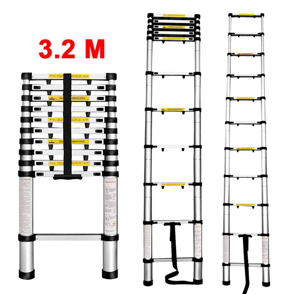 (TELE LADDER+SPACER 320P DE) Finether 3.2M Portable Heavy Duty Multi-Purpose Aluminum Telescoping Ladder with 1-Inch Finger Protection Spacers, EN131 Certified, 11 Steps, 330 Lb Capacity, Lightweight - Silver