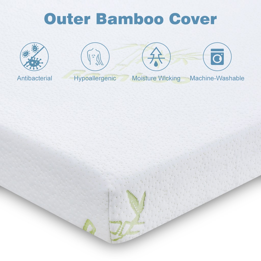 LANGRIA 3-Inch Gel-infused Memory Foam Mattress Topper with Removable Zippered Hypoallergenic Bamboo Cover CertiPUR-US Certified Gel Memory Foam (Twin)- White