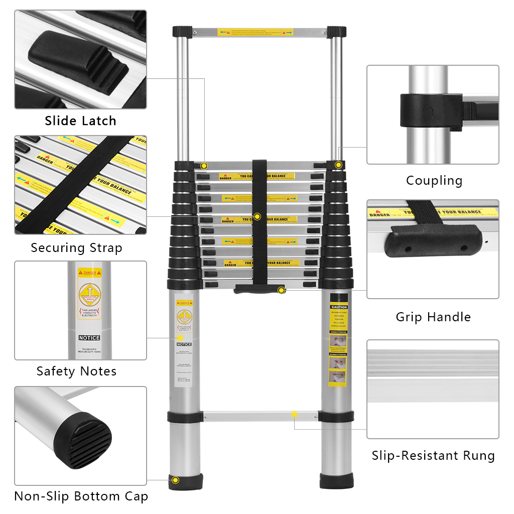 Finether 16.4 ft Aluminum Telescopic/Telescoping Loft Extension Multi-Purpose Ladder, EN 131 Certified with Work Gloves, Ladder Carrying Bag and Anti-Slip Treads for Household Kitchen Garage Commercia- Black 2#