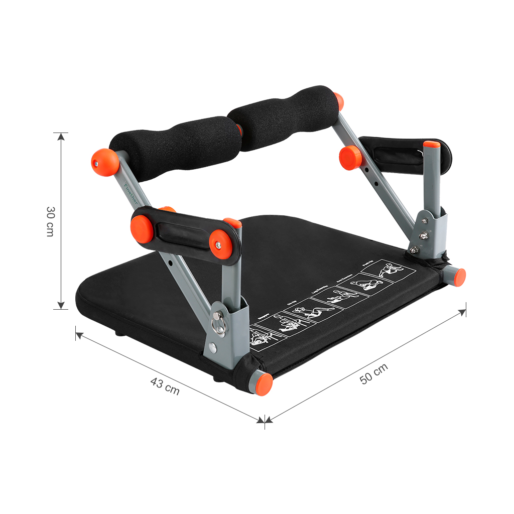 Finether Core Fitness Equipment, 9 in 1 Ab Trimmer Total Body Workout Exercise Machine for Gym, Home, Office, Toning Abdominal, Legs, Arm, and Back, 220 lbs Load Weight, Orange/Black- Black