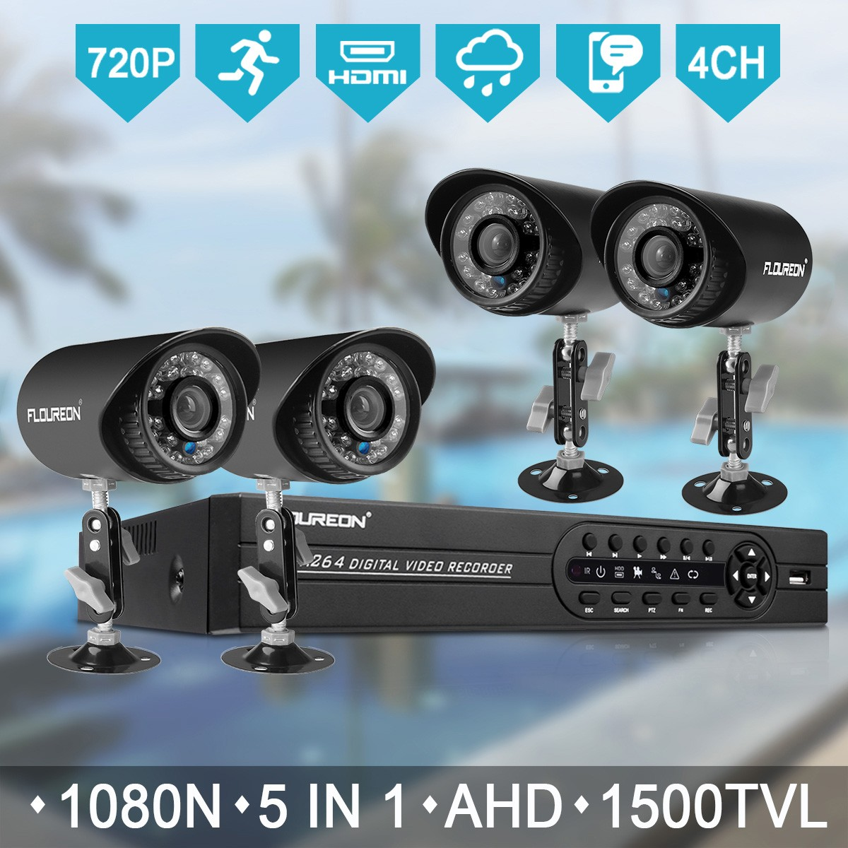 Security Camera System 4 Pack 1.0Mp Cmos Lens Night Vision House Access Motion