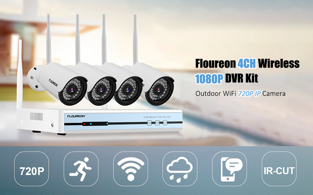 Floureon 4CH Wireless 1080P DVR Kit Outdoor WiFi 720P IP Camera