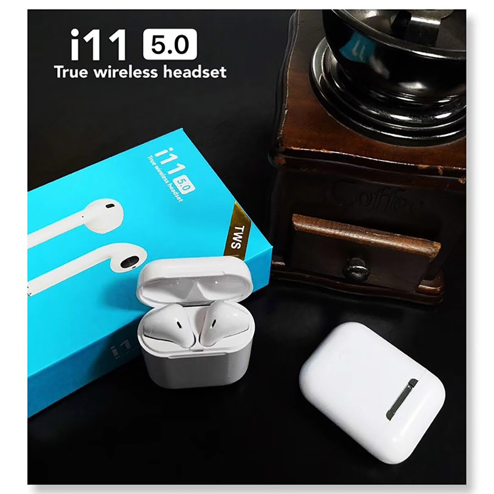 i11 TWS 5.0 + EDR Bluetooth Touch Earphone TWS Wireless EarBuds- White