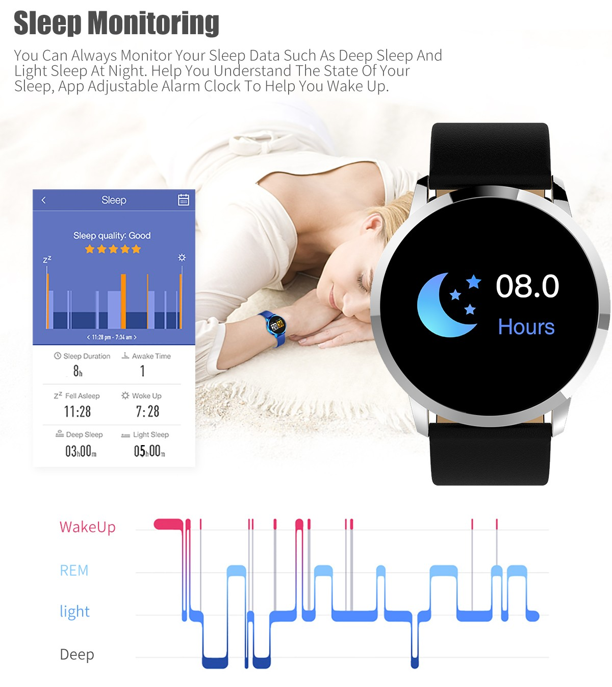 Q8 Smart Watch 1.2 inch OLED Color Screen Heart Rate Monitor Blood Pressure Steel strip- Gold