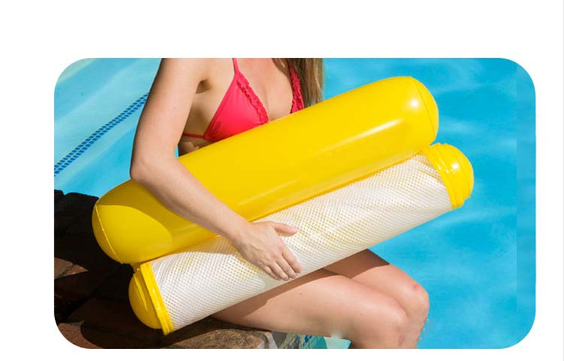 Swimming Inflatable Floating Bed Water Sports Tool Water Hammock for Pool Ocean Lake- Yellow
