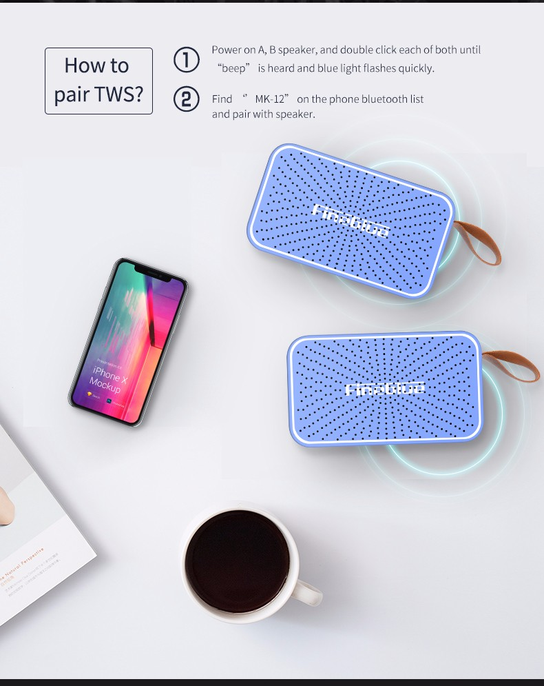 ASTROSOAR - Bluetooth Speaker - Fineblue MK-12 Mini Wireless HiFi Bluetooth Speaker TF Card Radio Hands-free Calling