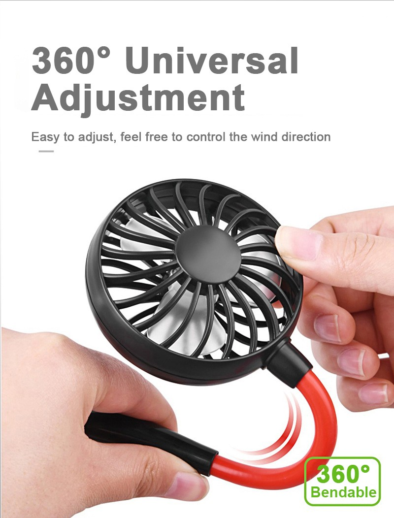 LED Neck Hanging Fan Portable Mini Fan LED Colorful Light USB Charging Aromatherapy Design- Black