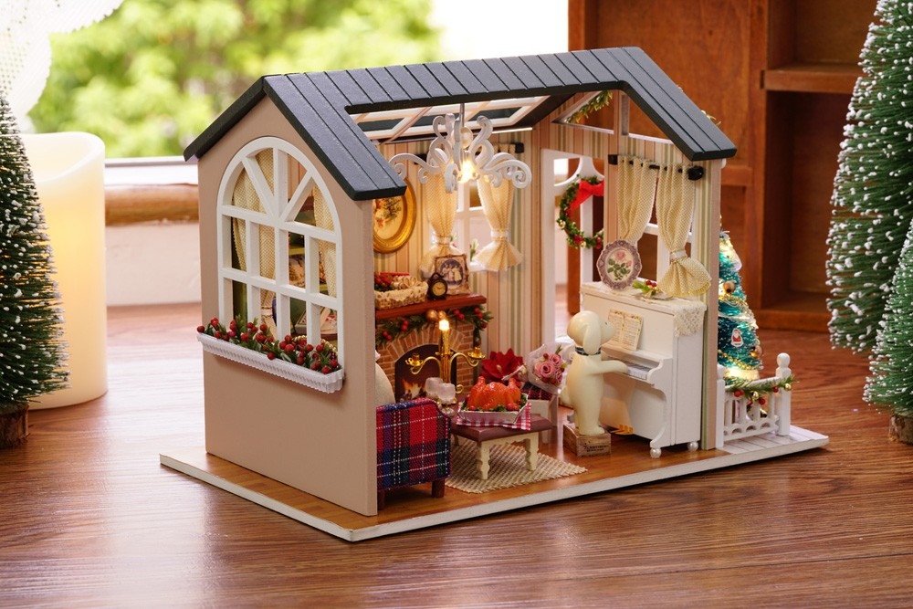 DIY Wooden House Furniture Handcraft Miniature Box Kit - Holiday Time- Multi-A