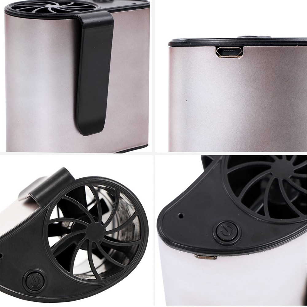 Hang Waist Cooling Fan Outdoor Portable Mini Fan For Working at The Waist USB Charging With Battery- Silver