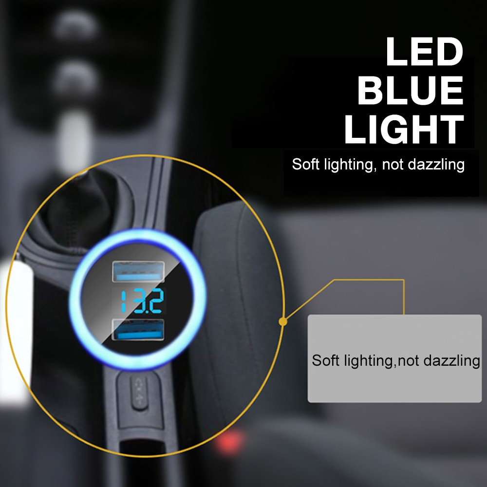 3.1A Dual USB LED Car Charger with Blue Indicator Light Multi-protection Universal for 12V/24V Vehicles- Black