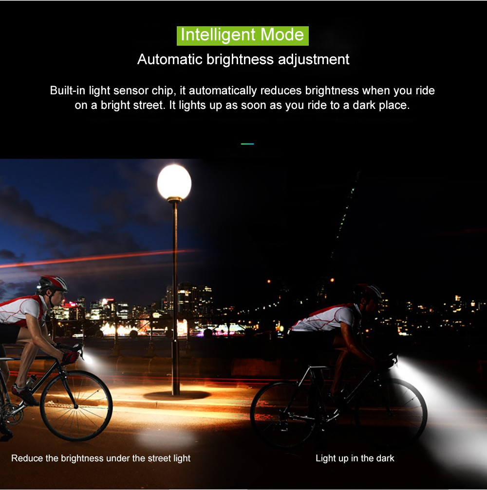 USB Rechargeable LED Bicycle Headlight with Horn Smart Sensor High Brightness Flashlight Multifunctional- Blue 2000mAh