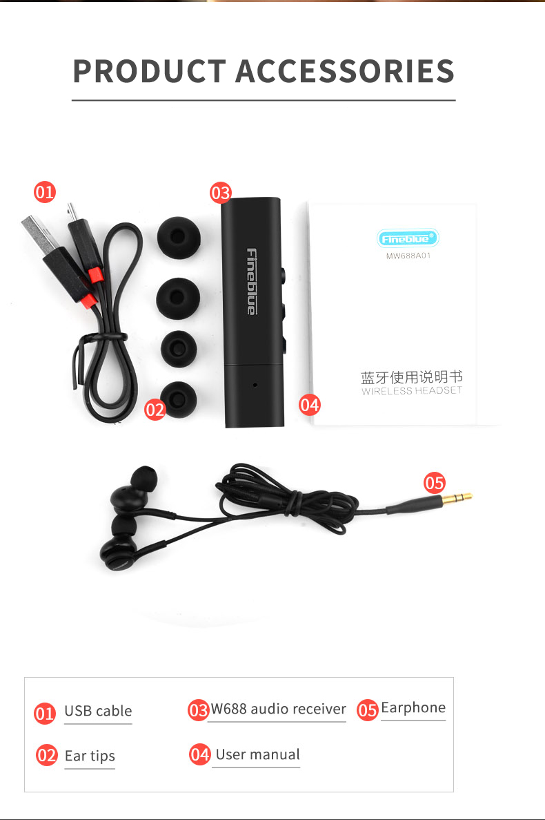 ASTROSOAR - FineBlue W688 Bluetooth Transmitter Earphones Vibration Prompt Headphone for Sports