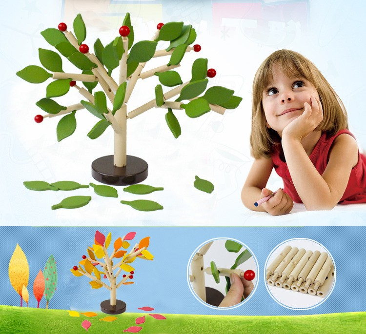 DIY Wooden Tree Puzzle Inserted Blocks Child Wisdom Early Educational Toy- Green