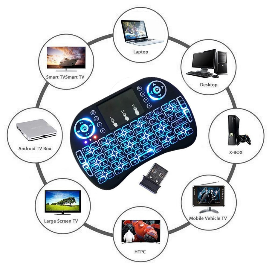 I8 Multifunction Portable 2.4GHz Wireless QWERTY Backlit Keyboard with Touchpad Mouse- Black