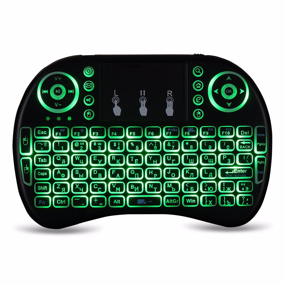 I8 Multifunction Portable 2.4GHz Wireless QWERTY Backlit Keyboard with Touchpad Mouse Russian