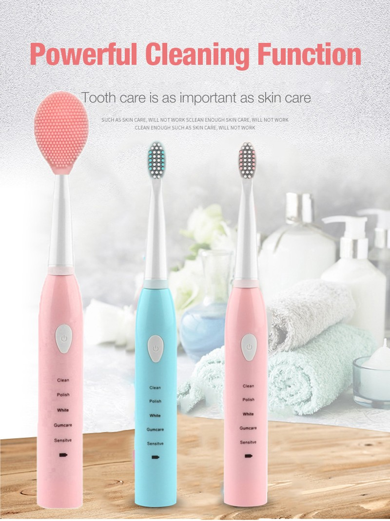 Sonic Vibration Electric Toothbrush USB Charging 5 Cleaning Modes Waterproof- Pink 0*Cleansing Instrument Head