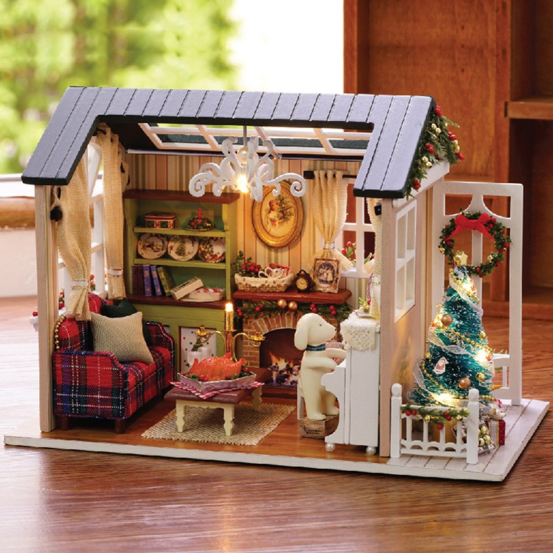 DIY Handcraft Toy Doll Miniature Wooden House Studio Kit with LED Light Retro