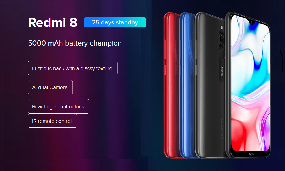 Xiaomi Redmi 8 4+64GB Onyx Black EU- Black 4+64GB