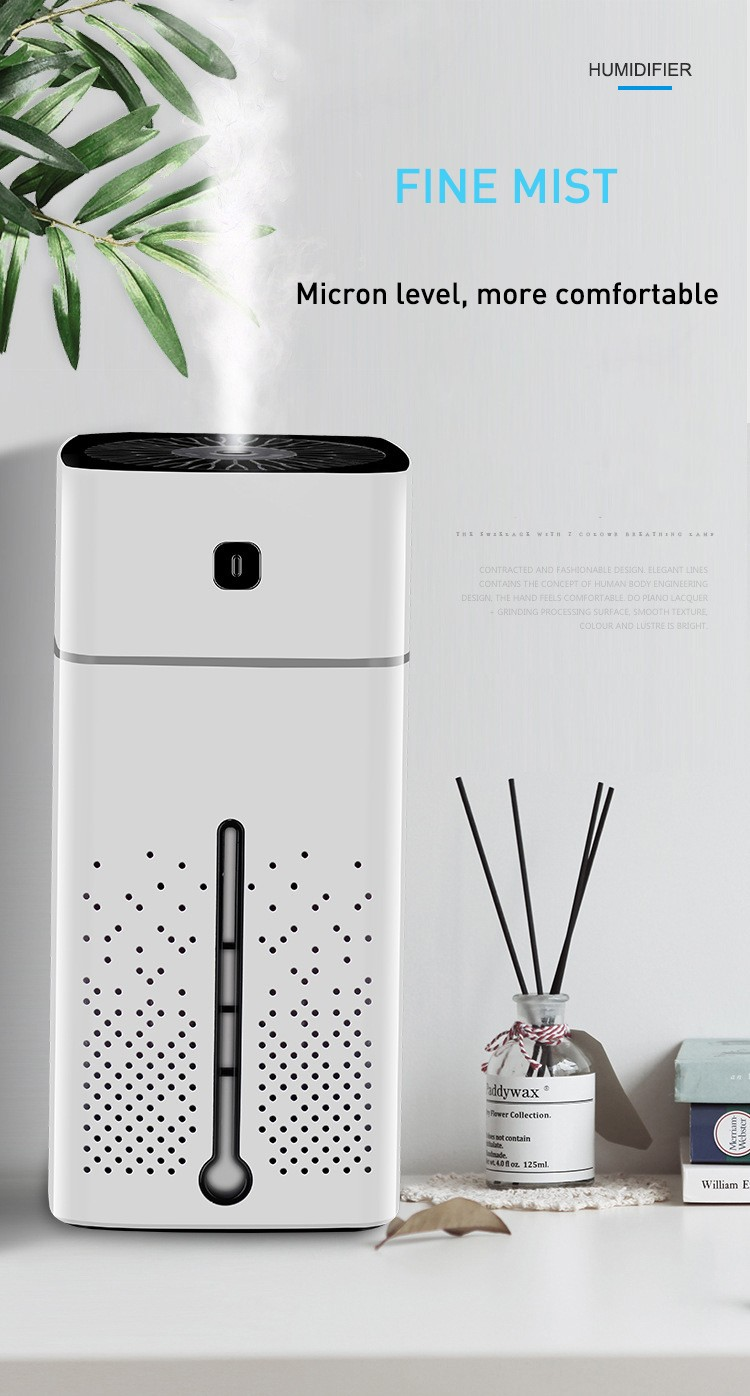 Microwave Humidifier Low Noise USB Charging Fine Mist for Home Office- White