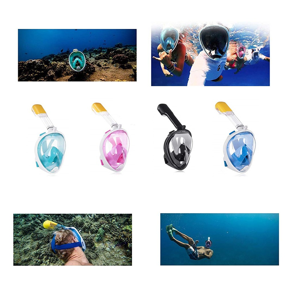 Diving Mask Full Face Silicone Snorkeling Mask for Adult and Kids- Blue S/M