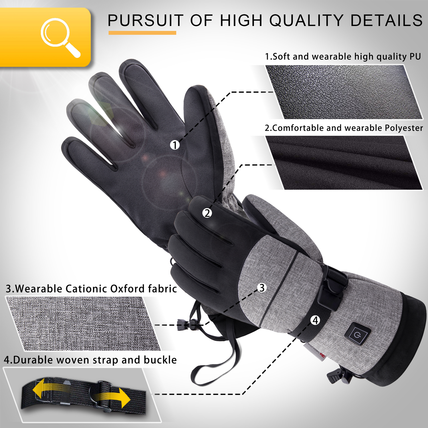 Winter Battery Rechargeable Keep Warm Electric Heating Thermo Gloves Outdoor Hand Warmer Rechargeable Battery 2500mAh 603F- Gray M