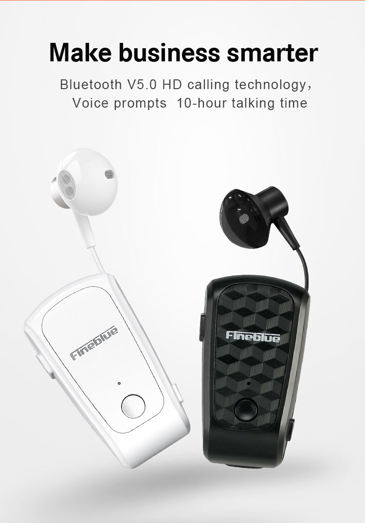 ASTROSOAR - Fineblue FQ-10 Pro Earphone Retractable Clip-on Design Noise Reduction Voice Control