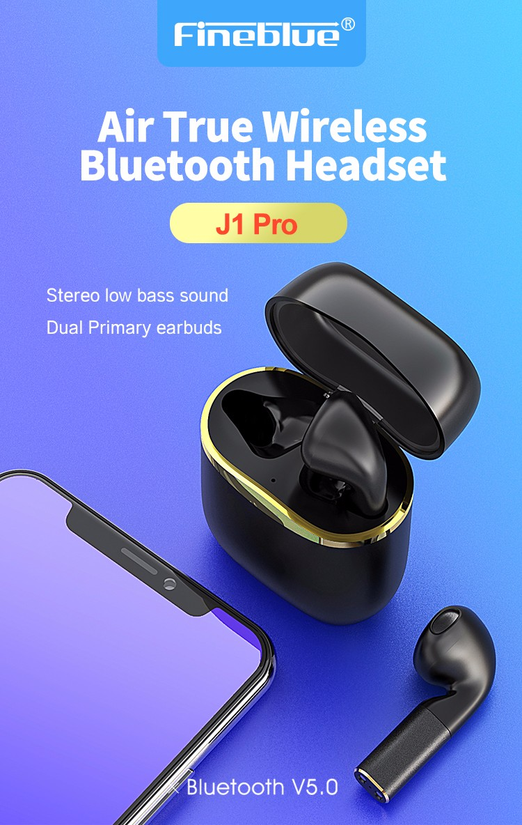 ASTROSOAR - Fineblue J1 Pro Wireless Earphones Voice Control Auto-pairing Touch Control Stylish Sports Earphone with Charging Box