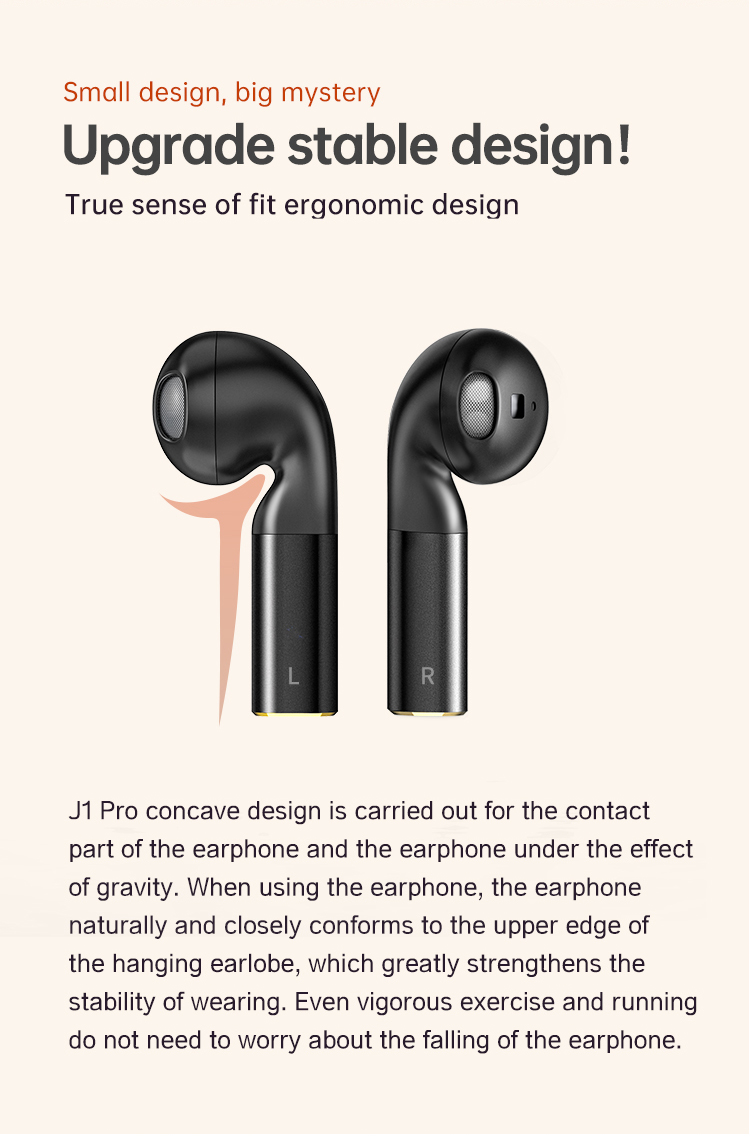 Fineblue J1 Pro Wireless Earphone Voice Control Auto-pairing Touch Control Stylish Sports Earphone with Charging Box- Black