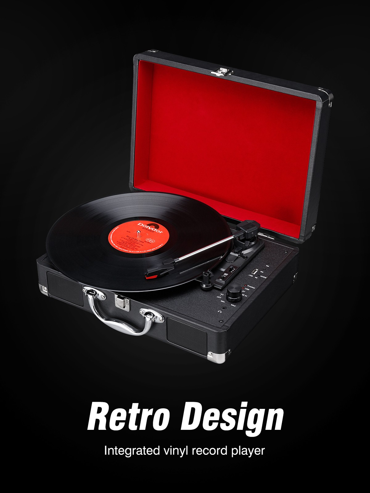 Integrated Record Player Electric Gramophone Mechanical Recording Multiple Playback Modes- Black EU