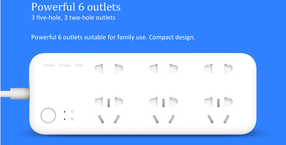 Original Xiaomi Outlet Power Strip CN Plug 6 Outlets Wifi Remote Control Power Measurement- White