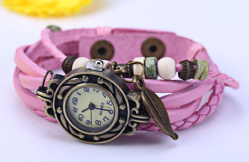 Retro Women Woven Bracelet Quartz Watch Leather Strap Leaf Pendent