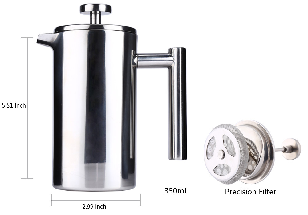 350ML Stainless Steel Cafetiere French Press with Filter Double Wall- Silver