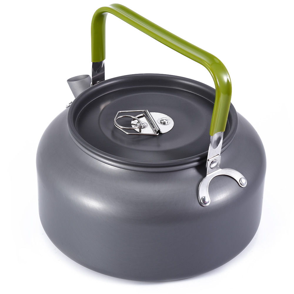 Aluminum 1.2L Portable Coffee Pot Water Kettle Teapot with Mesh Bag- Gray