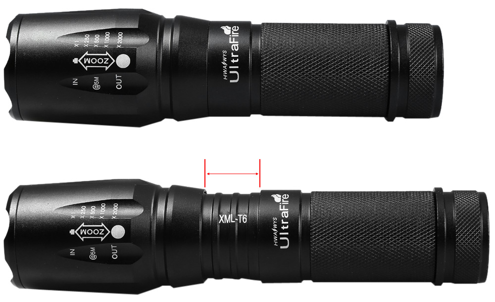 878 Cree XM-L T6 1000lm LED Zooming Flashlight (3 x AAA /1 x 18650 Battery)
