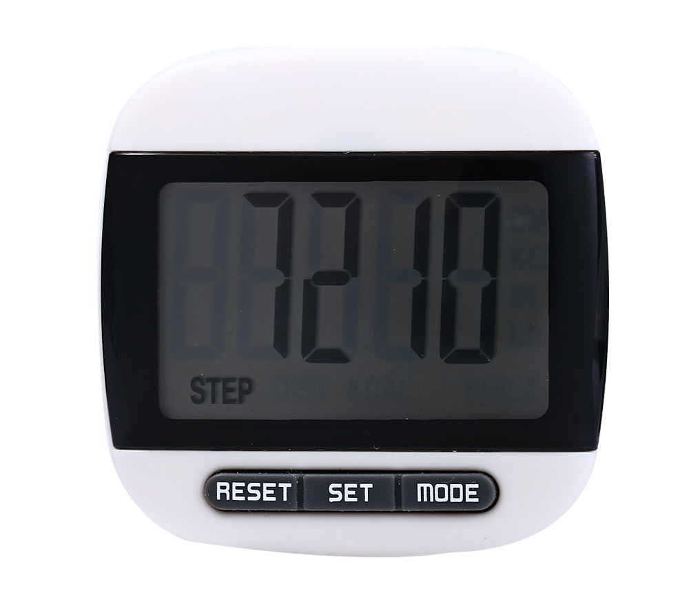 667 Square-shaped Electrical Pedometer with Large LCD Screen / Waist Clip- Yellow