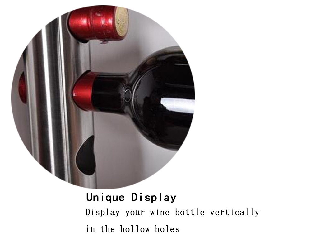 Creative Wine Rack Holder 8 Holes Home Bar Wall Vertical Wine Bottle Stand- Silver
