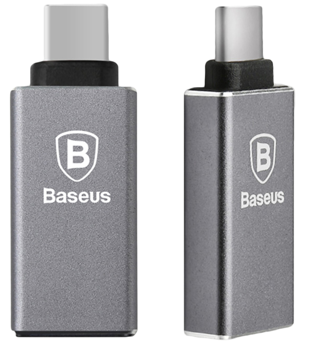 Baseus Aluminum Alloy Type - C USB 3.0  Adapter Converter with OTG Function- Gray
