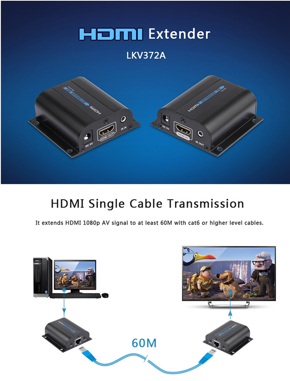 LKV372A 1080P HDMI Extender 60M CAT6 Signal Network Cable with IR Control HDTV DVD Player