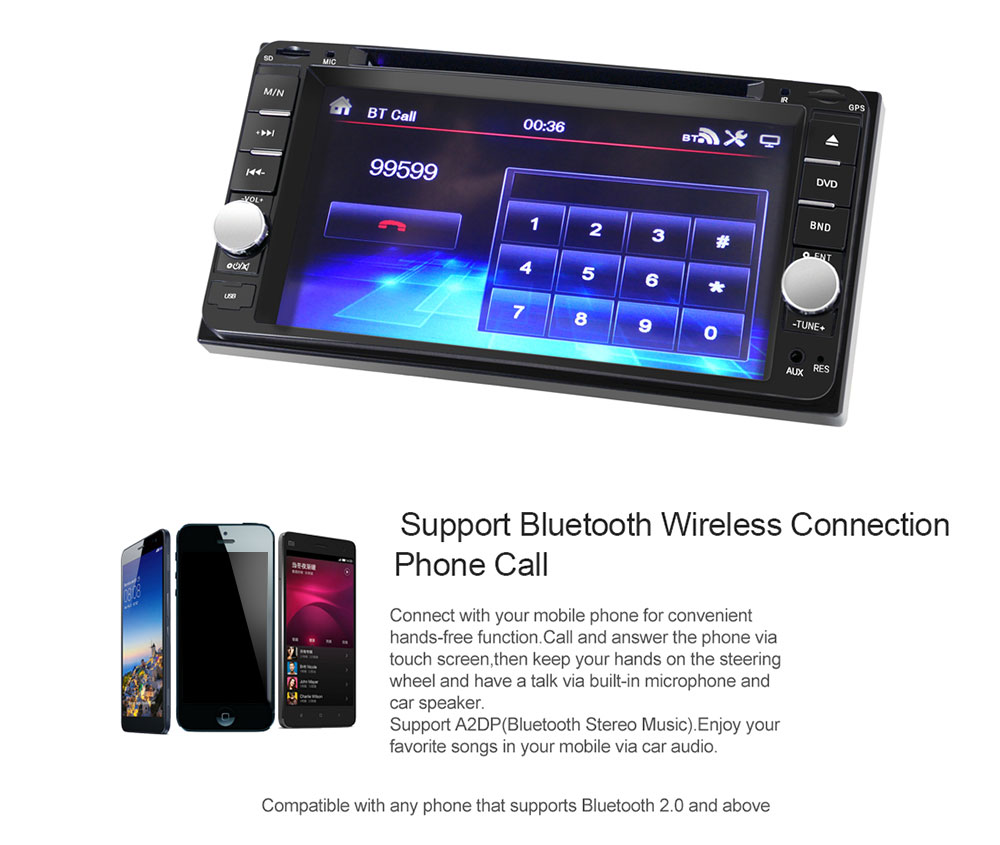 7 inch Car DVD Player Universal Double Din Stereo Radio with Remote Control  for Toyota-