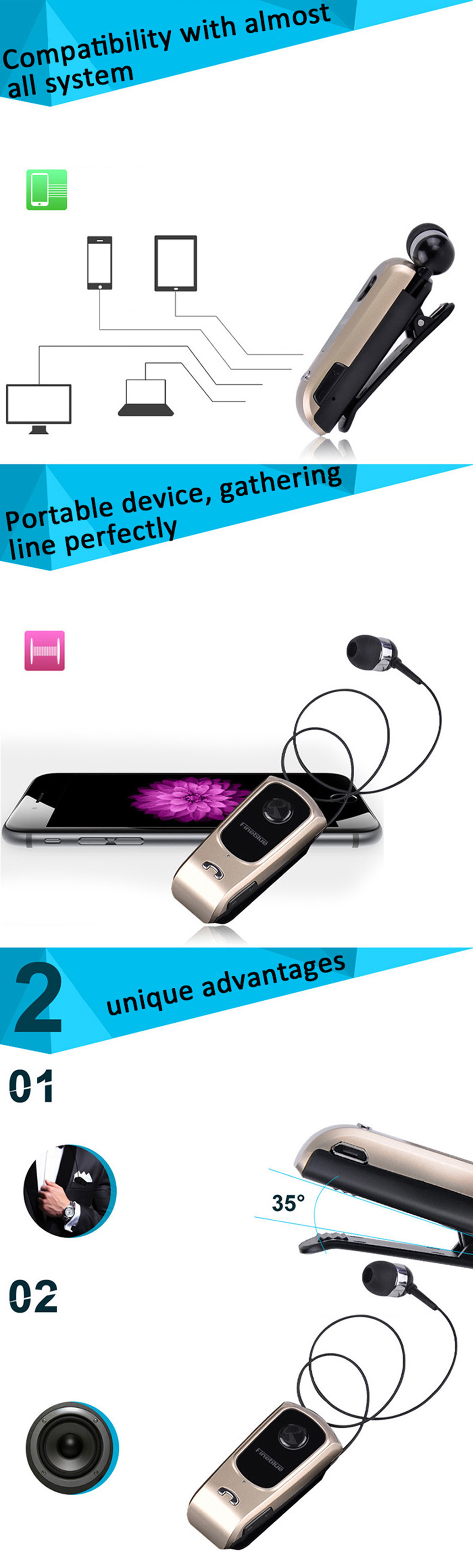 FINEBLUE F920 Wireless Bluetooth V4.0 Headphone Calls Vibration Remind Wear Clip Headset- Silver