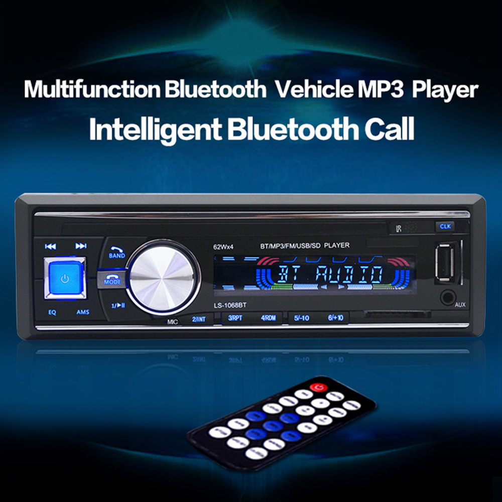 1068 car audio stereo bluetooth v2 0 support fm usb sd mp3 player aux mic