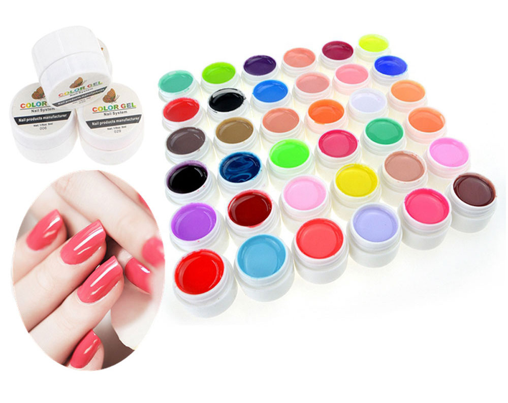5ml 36 Pure Colors Pots Bling Cover UV Gel Nail Art Tips Extension Manicure for Girls