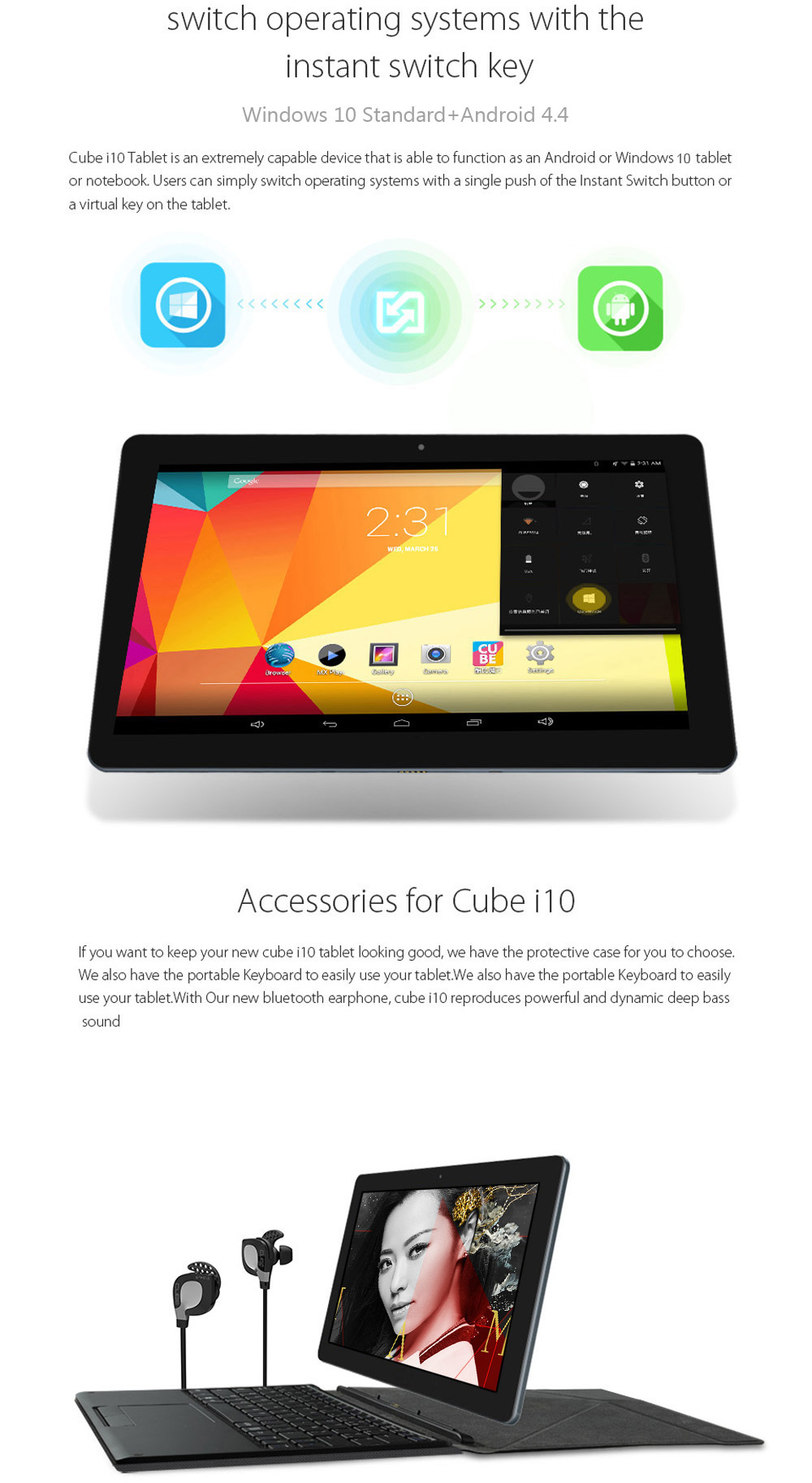 Cube I10 Android4 4 + Win10 Ultrabook Tablet PC