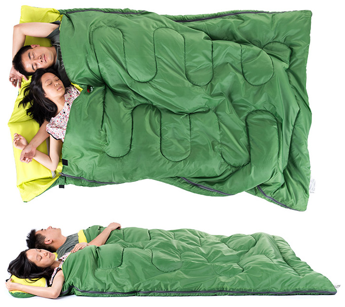 Naturehike 2 Person Sleeping Bag With Pillow For Outdoor Camping Green