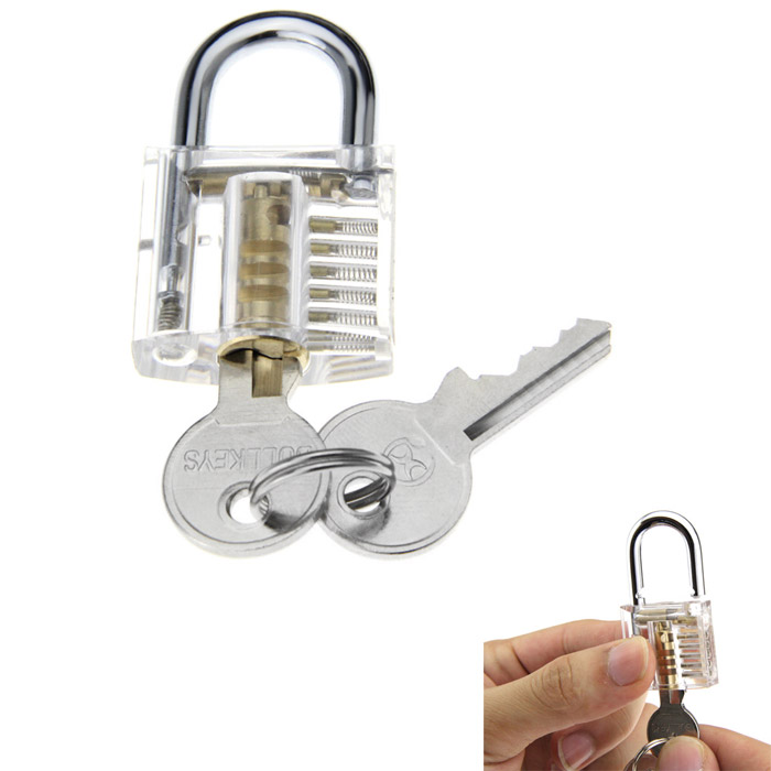 Mini Transparent Inner Visual Padlock Practice Tool with Unlocking Lock Pick / Key