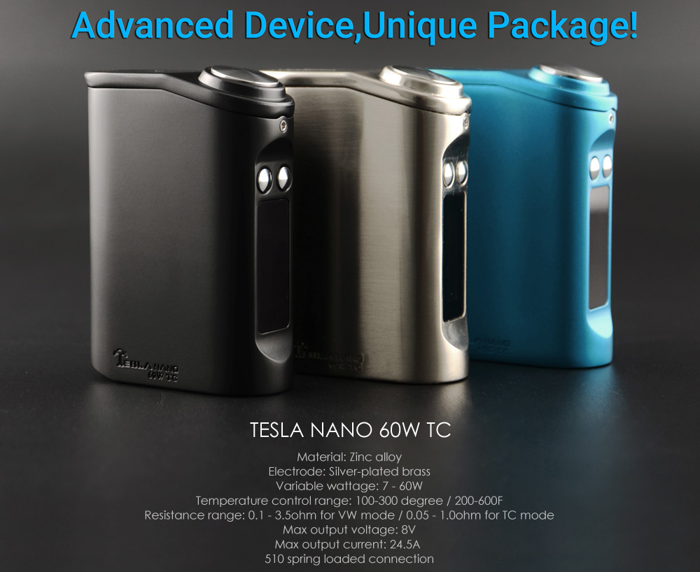 Tesla Nano 60W Temperature Control 200 - 600F Box Mod with 3600mAh Build-in Battery