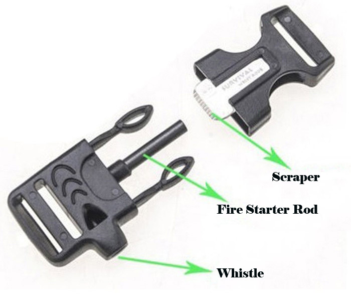 5 in 1 Outdoor Paracord Bracelet Fire Starter Whistle Compass
