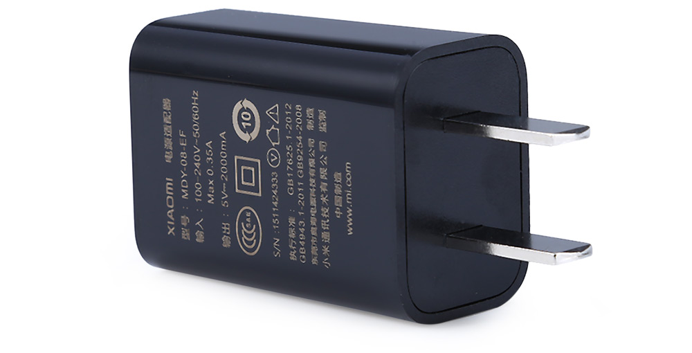 Original Xiaomi US Plug Power Adapter for Xiaomi 4C 100V - 240V AC 5V 2A Output- Black