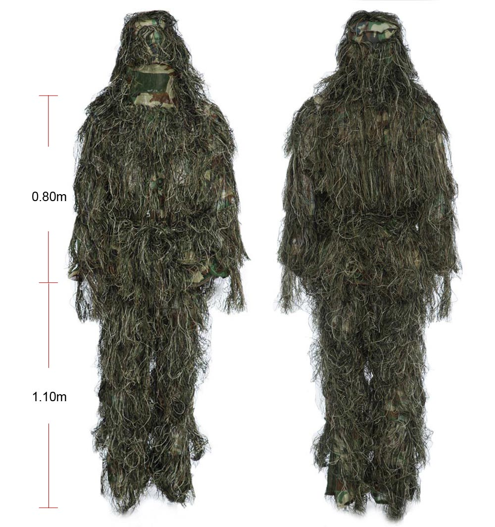 Hunting Woodland Camo Sniper Ghillie Suit 4767 Free Shipping Ems Adjustable Headband Army For Baby Earmuff 4 Pieces Tactical Camouflage Clothing Jungle
